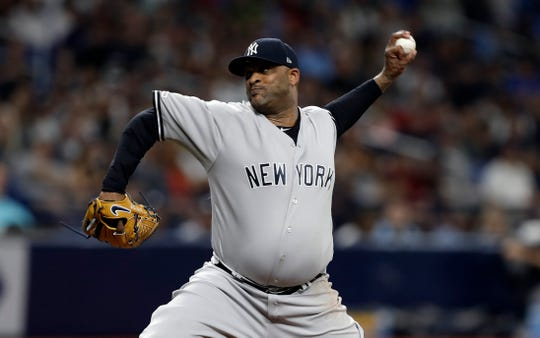 New York Yankees pitcher CC Sabathia delivers to the Tampa Bay Rays during the fourth inning of a baseball game Tuesday, Sept. 24, 2019, in St. Petersburg, Fla. (AP Photo/Chris O'Meara)