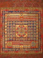 Womb World Mandala Edo Period (1615–1868)  Hanging scroll; ink, colors and gold on silk