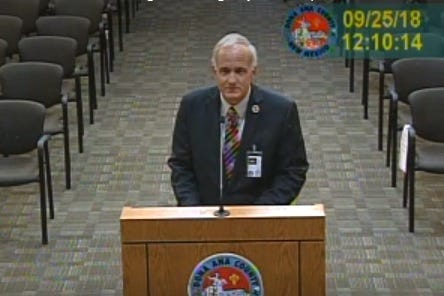 Major Tom Hennigh of the Doña Ana County Sheriff's Office, in a screen grab from archived video of a September 25, 2018 meeting before the board of county commissioners.