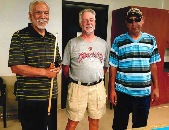 Pictured from left to right are the August 2019 eight-ball Billiard's Tournament winners: Henry Telles, first place, Karl Kinstle, second place and Carlos Hernandez, third place.