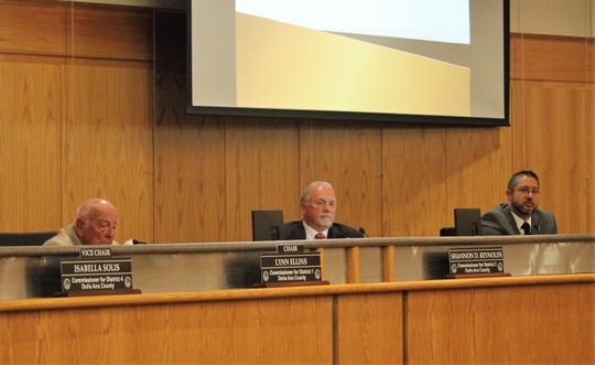 From left, Doña Ana County Chair Lynn Ellins with commissioners Shannon Reynolds and Manuel Sanchez during the Board of County Commissioners meeting on Tuesday, September 24, 2019.