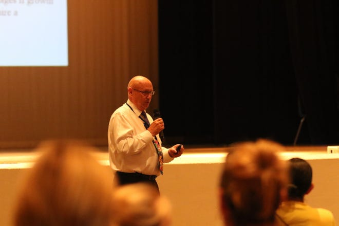 Dr. Gerry Washburn, superintendent of Carlsbad Schools, on Sept. 24 at P.R. Leyva Middle School Auditorium. Washburn spoke on the district's plans to use proposed bond funds to build new facilities and rehab old facilities to deal with a growing student populations.