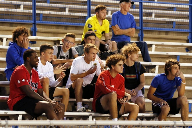 Carlsbad fans watch the Cavegirls play Alamogordo during their match on Sept. 24, 2019. Carlsbad won in overtime, 3-2.
