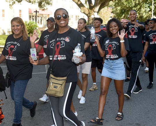 Marching for a cause at the fourth annual Don Vallien Sickle Cell Awareness Event held on Saturday, Sept. 21, at Donald Gardner Stadium.
