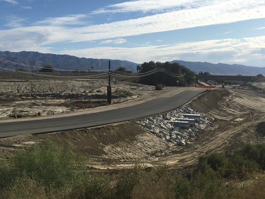 This photo shows the Avenue 44 at the Whitewater Wash in Indio on Sept. 23. The road is being repaired after it was destroyed by a Feb. 14 rainstorm.
