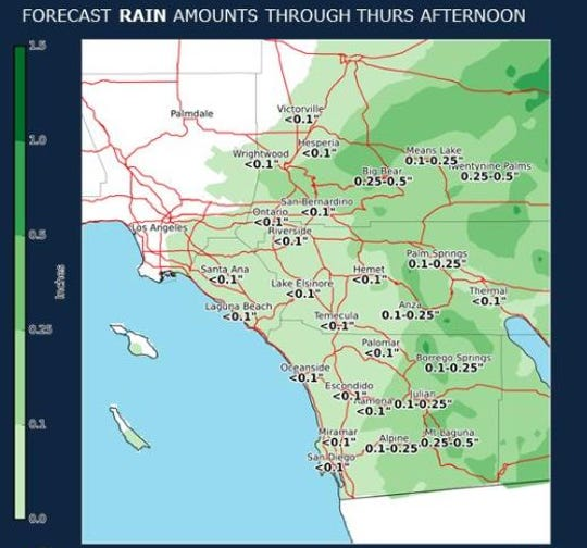 Up to 0.10 inch was expected to fall on parts of the Coachella Valley as early as 5 p.m. Wednesday, according to the National Weather Service. Wet conditions should last through Thursday afternoon, although less rain will fall with each passing hour.