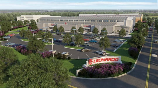 A rendering of the proposed Leonardo Helicopter Support Center at Whiting Aviation Park.