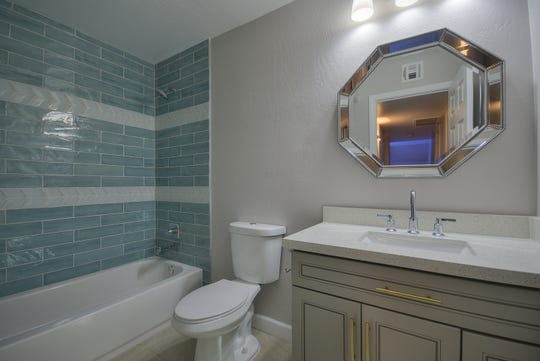 Fully remodeled guest bathroom.