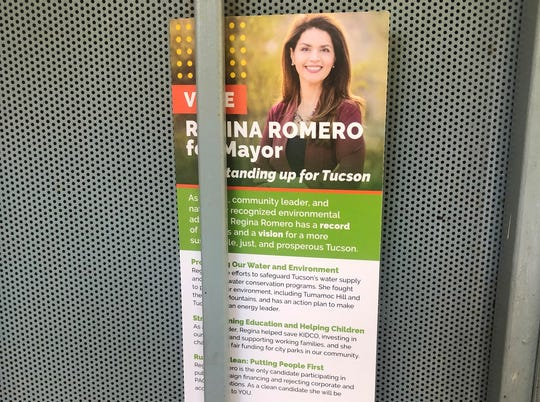A flier funded by a political action committee touts that Regina Romero is the only candidate not funded by political action committees.