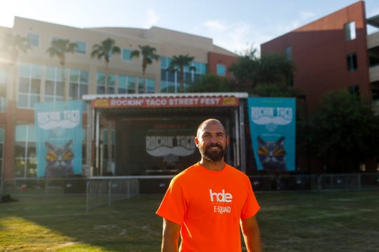 Landon Evans, owner of special events coordinator HDE Agency, poses for a portrait on the site of the Rockin' Taco Street Festival Friday, September 13, 2019 in Chandler.