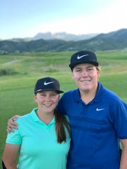 Grace Summerhays (left) and Preston Summerhays (right) take a photo together at the Utah Men's State Amateur golf tournament in July 2019.