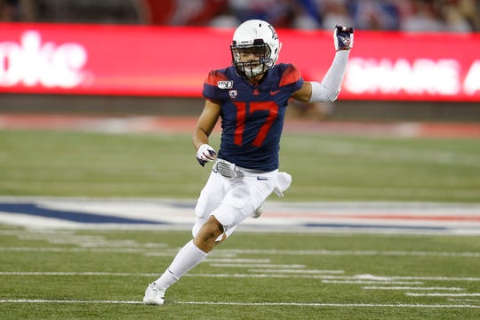 Arizona cornerback Jace Whittaker (17) during an NCAA football game against Texas Tech on Saturday, Sept. 14, 2019 in Tuscon, Ariz.