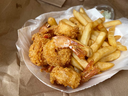 Fried shrimp dinner with french fries, white bread and cole slaw at Chicago's Chicken Shack in Tempe.