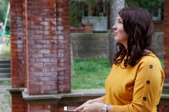 Sarah Jacoby at the formal gardens at the Vanderbilt National Historic Site in Hyde Park on September 24, 2019. Jacoby sold her fitness multi-location business and retired in 32, to become a consultant.