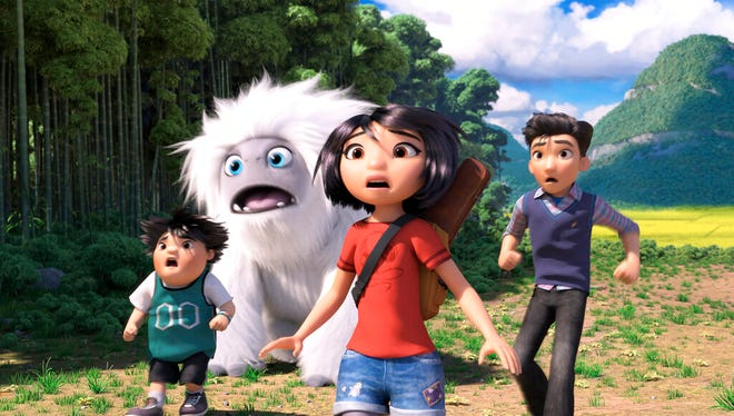 """From left, Peng, voiced by Albert Tsai, Everest the Yeti, Yi, voiced by Chloe Bennet and Jin, voiced by Tenzing Norgay Trainor, in a scene from """"Abominable."""" The movie is playing at Regal West  Manchester, Frank Theatres Queensgate Stadium 13 and R/C Hanover Movies."""
