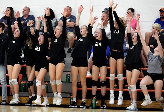 York Suburban's bench cheers a point against York West York during volleyball action at Suburban Tuesday, Sept. 24, 2019. Bill Kalina photo