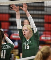 Damonte's Cayton White celebrates a point against Wooster during Tuesday's game at Wooster. Damonte defeated Wooster 3-0.
