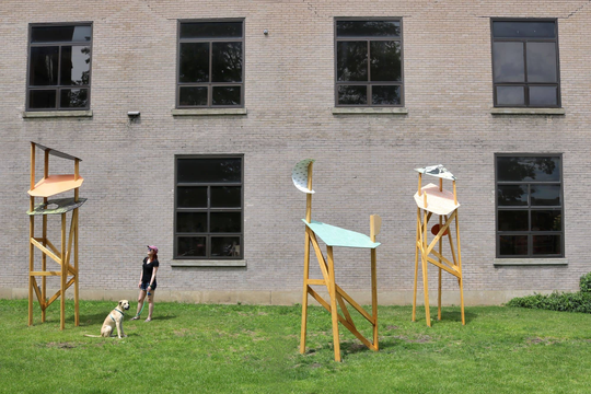 """Observation Towers"" by Heather Swenson, at RoCo during ""Current Seen."""