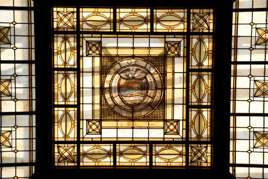 A stained glass ceiling overlooks the courtroom at the Oregon Supreme Court in Salem. The offices of the Supreme Court are moving for about two years to a temporary location next month so seismic upgrades and other construction projects can be finished in the building, which was built in 1914.