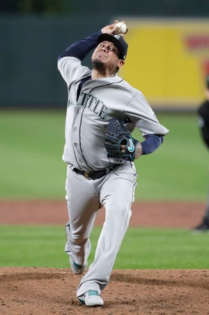 Seattle Mariners starting pitcher Felix Hernandez throws to a Baltimore Orioles batter during the second inning of a baseball game, Friday, Sept. 20, 2019, in Baltimore.