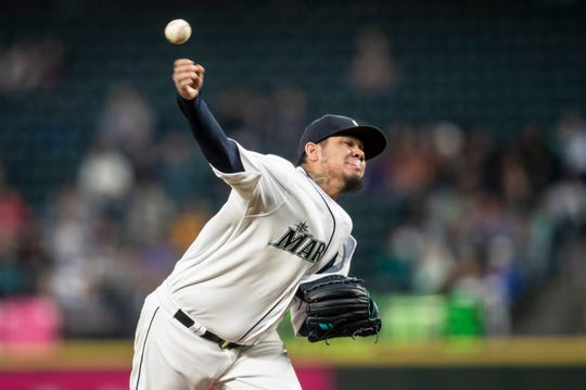 Seattle Mariners starter Felix Hernandez delivers a pitch during the fourth inning of the team's baseball game against the Chicago White Sox, Saturday, Sept. 14, 2019, in Seattle.