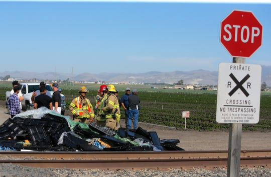 A woman died after a train hit the Tanimura & Antle flatbed truck she was driving on the tracks just off Highway 183 near McFadden Road Sept. 25, 2019.