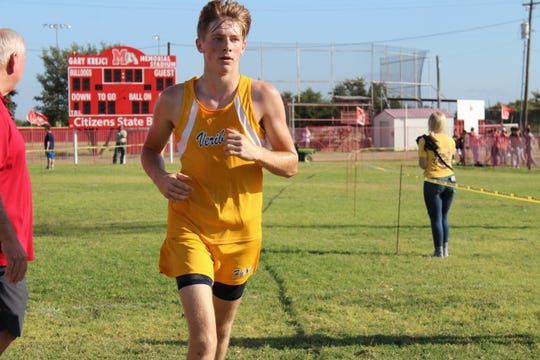 Veribest's Bo Dunn took third place in the boys division at the Bob Fuller Cross Country Meet in Miles on Wednesday, Sept. 25, 2019.