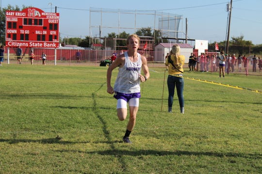 Irion County freshman Tayte Cormier won the varsity boys race at the Bob Fuller Cross Country Meet in Miles on Wednesday, Sept. 25, 2019. Cormier finished the three-mile course in 17 minutes, 40 seconds.