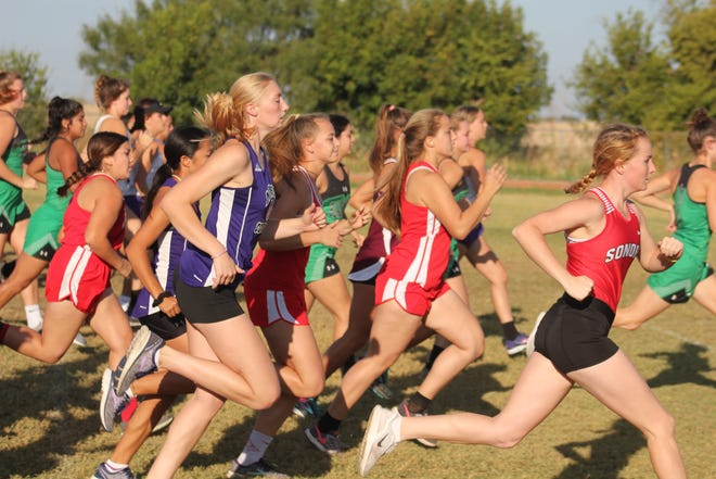 A pack of runners takes off during the varsity girls race at the Bob Fuller Cross Country Meet in Miles on Wednesday, Sept. 25, 2019.