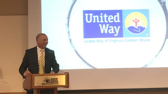 Steve Kast, CEO of the United Way of the Virginia Peninsula, gives the keynote address at the United Way of Virginia's Eastern Shore 2019 Campaign Kick Off Breakfast on Wednesday, Sept. 25, 2019 in Melfa, Virginia.