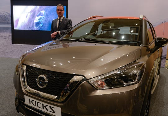 Nissan India's marketing Vice President Peter Clissold speaks during the launch of the new compact SUV 'Kicks' in Chennai on Jan. 23.