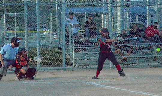 Grace Wilford at the plate against Sioux Falls Washington on Tuesday, Sept. 24 at Sherman Park.