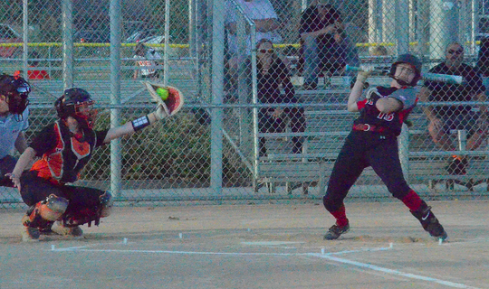 Brandon Valley's Grace Wilford gets brushed back at the plate on Tuesday, Sept. 24 against Sioux Falls Washington.
