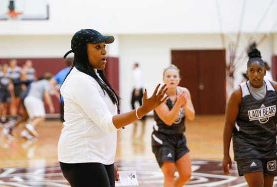 Lady Bears Head Coach Amaka Agugua-Hamilton leads the team during practice on Wednesday, Sept. 25, 2019.