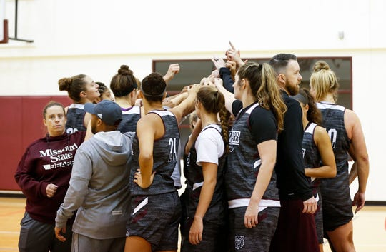 The Missouri State Lady Bears during practice on Wednesday, Sept. 25, 2019.