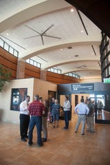 Washington County residents gather at the St. George Regional Airport open house Wednesday, Sept. 25, 2019.