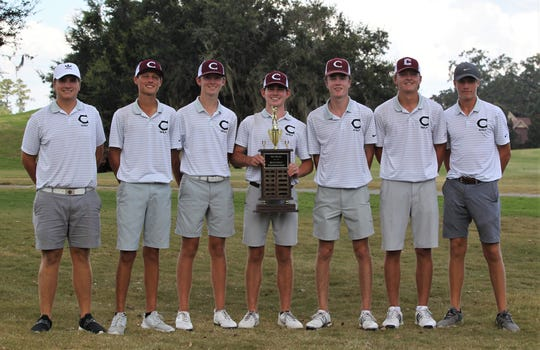 Chiles' boys golf team shot 17-under at Southwood Golf Club during Wednesday's Big Bend Championship, obliterating the old school record by 10 strokes. All five Timberwolves golfers finished in the top six, including a win by Parker Bell over teammate Jake Springer in a playoff. From left: Tank Lawson, Aiden Ash, Patrick McCann, Trey Buehler, Jake Springer, Parker Bell, Sanders O'Kelley.