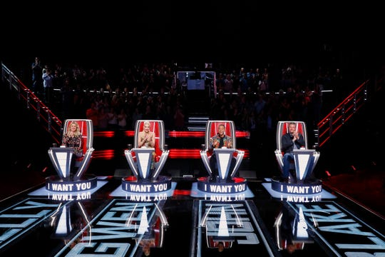 "The coaches on this season of ""The Voice"" are Kelly Clarkson, Gwen Stefani, John Legend and Blake Shelton."
