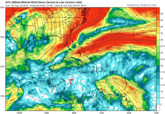 GFS 200mb-850mb Wind Shear & Low Centers
