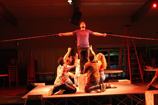 "Cameron Casey plays Jesus (alternating performances with Everett Reed) in Faith Presbyterian Church's production of ""Godspell."""