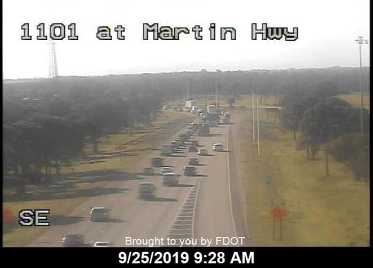 Highway cameras show southbound Interstate 95 traffic flowing again in Martin County after an investigation into a fatal incident involving a pedestrian blocked two lanes early Wednesday, Sept. 25, 2019.