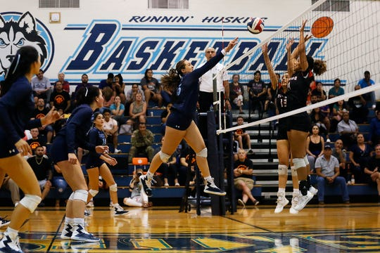 Chapin's Daniella Garcia (15), center, during the game against El Paso High Tuesday, Sept. 24, at Chapin High School in El Paso.