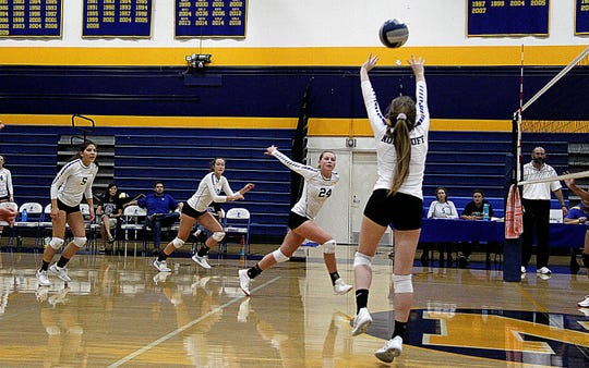 Julia Hankins sets up a teammate during a Nordhoff High match this season.