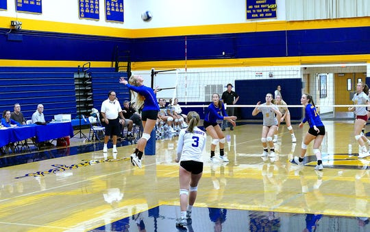Ashley Johnson soars high off the court for a kill attempt during a Nordhoff match this season.