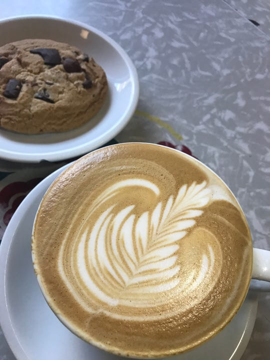 Latte and a cookie at The Peekskill Coffee House.
