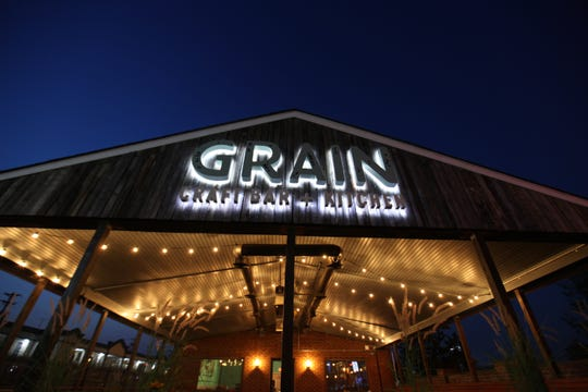 The front Grain Craft Bar + Grill's flagship location on Newark's Main Street ahead of its opening in 2015.