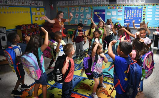 Lamar Elementary kindergarten students in Stephanie Roberts' class enjoy a dance party at the end of each day if they worked hard.