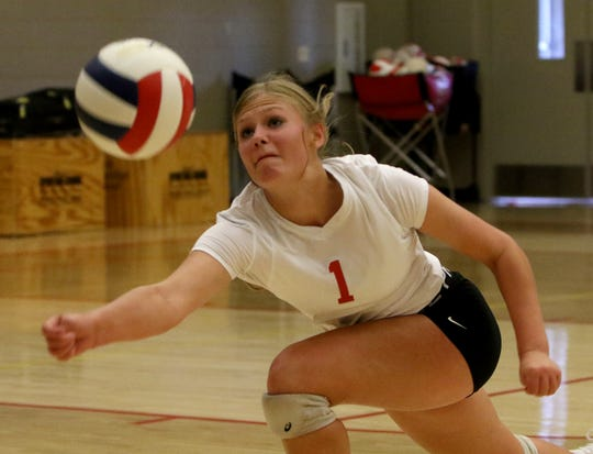 Christ Academy's Brooklyn Lane keeps the ball in play in the match against Nocona Tuesday, Sept. 24, 2019, at Christ Academy.