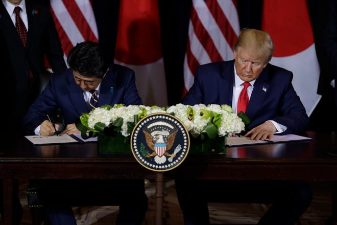 President Donald Trump meets with Japanese Prime Minister Shinzo Abe at the InterContinental Barclay New York hotel during the United Nations General Assembly, Wednesday, Sept. 25, 2019, in New York.