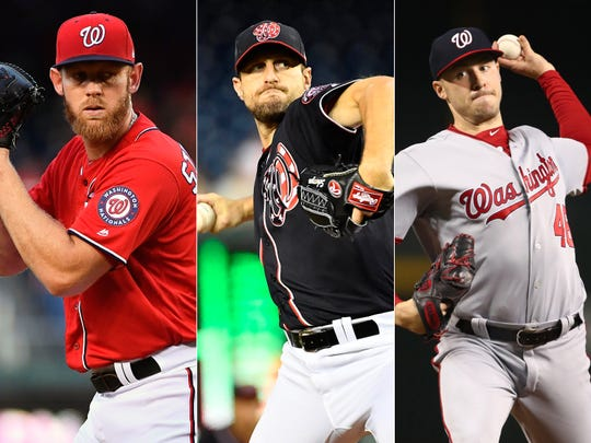 Washington pitchers Stephen Strasburg, Max Scherzer and Patrick Corbin.